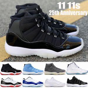 2021 Nouveau Top 11 11S 25ème anniversaire Jumpan Humps Basketball Chaussures Breg Blanc Bred Concord Ovo Gris Snake Skin Pantone Skin Pantone Hommes Sneakers