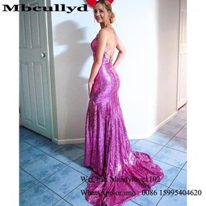 Mbcullyd Mermaid Evening Dresses For Black Girls 2020 Purple Sequined African Prom Party Gowns Cheap Vestidos de fiesta de noche1