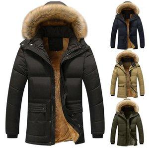 Men's Down Parkas Men's Casaco Homens Inverno Outono Pure Color Bolso Abra um Chapéu Zipper Capuz Jacket Top Mens Casual Blusa Overco