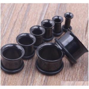 100 pçs / lote mix 3-14mm de aço inoxidável preto único flare orelha túnel corpo jóias plug jllich carshop2006