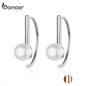 BAMOER Silver 925 Big Circle Geometric Stud Earrings for Women Shell Pearl Earings Female Korea Jewelry SCE604