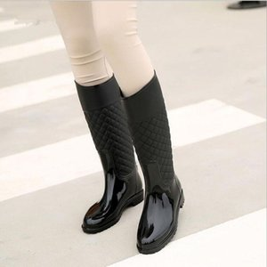 Punk Style Zipper Rain Boots Women's Pure Color Rain Boots Outdoor Rubber Water shoes For Female 36-41 Plus size