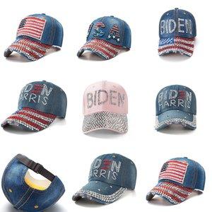 8 цветов горный хрусталь BiDen бейсбол шляпа регулируемые джинсовые шарики Snapbacks Diamond BiDen Harris США флаг ковбойских козырек спортивные головные уборыe111802