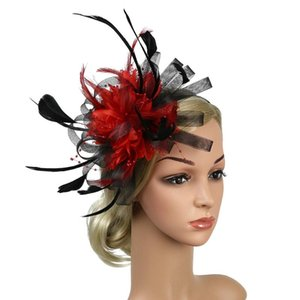 Fascinator Headband Bridal Gift Hair Accessory Feather Mesh Women Party Hat Bowknot Fedoras Wedding Banquet Day