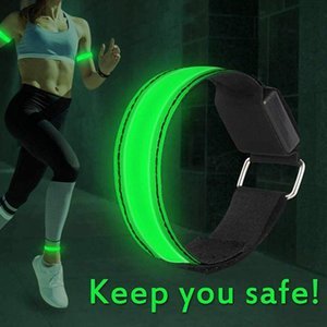 1set Led Rechargeable Luminous Arm with Reflective Strip Anti-lattice Ankle Strap Outdoor Sports Night Running Equipment