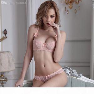 Wholesale-New 2016 Fashion transparent sexy bra set plus size Women lace ultra-thin blue underwear set