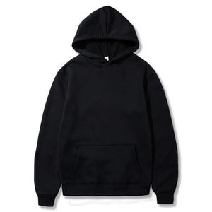 Swenearo Autumn Winter Solid Color Fleece Hoodies Mens European American Style Hip Hop Sweatshirts Hoody Jacket Male Hoodied