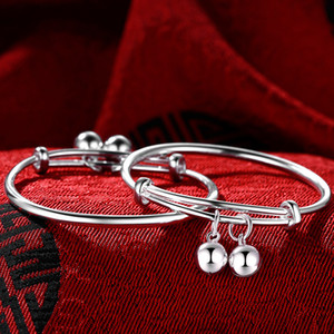 Silver Bracelet smooth face baby s999 bell cow pig baby full moon baby male and female gift traditional children's jewelry F1201