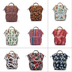 High Capacity Diaper Bags Leopard Print Cactus Both Shoulders Knapsack Baby Fashion Woman Multi Function Rucksack 62fy K2