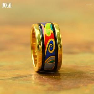 Bocai 2020 New Wave Pattern Series Moda Enamel Anel para Mulheres Rodadas Novas Cloisonne Women Ring1