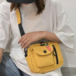 Saco de Mulheres Pacotes Pequeno de Algodão Zipper Square Bag Bolsa Heuptas Banana Bags Telefone Ombro Crossbody Bolsa Neutro