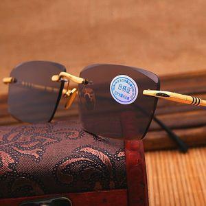 Anti Vazrobe Reflection Sunglasses Men Man Yellow Sun Glasses For Sunglass Crystal Glass Lens Brown Designer Rimless Stone UV400 Bdnmg
