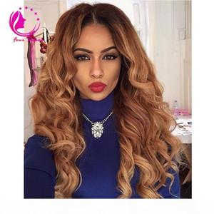 Brazilian Virgin Human Hair U Part Wig 130% Density Brazilian Remy Hair T1B 27# Ombre Body Wave Upart Wigs For Black Women
