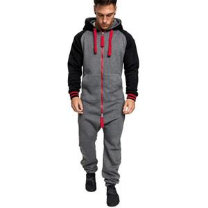 2021 Chándal de invierno Invierno Velvet Mens Jumpsuit sólido empalme Pijamas Zipper Hoodie Moda general Estilo casual