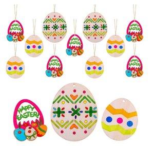 Partido de Pascua Decoraciones para el hogar Colgante 10 unids DIY Tallado Tallado Huevo Colgantes Colgantes Colgantes Ornamentos Creative Wooden Craft Party Favors DHD3903