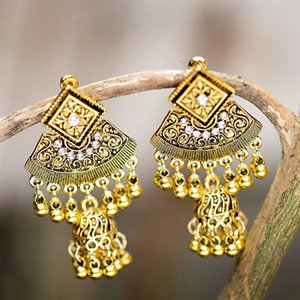 Gypsy Sector Afghan Jewelry Retro Ethnic Silver Color Jhumka Bells Beads Drop Tassel Earrings For Women Oorbellen HXE070