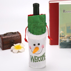 Christmas Red Wine Bottle Cover Drawstring Bag Wine Set Bag Champagne Pouches Gift Bags Flannelette Snowman Deer Bag Xmas Decoration DDC4188