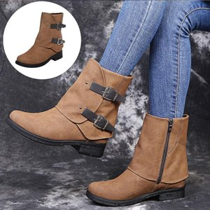 Round Toe Boots Side Zipper Plus Size Fashion Casual Buckle Low Heel Women's Shoes Retro Autumn Winter Shoes Leather Boots