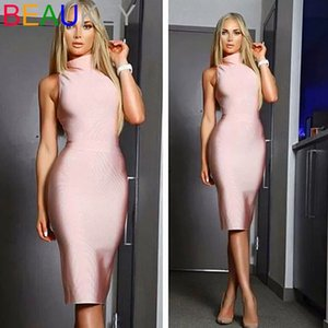 Europe and the United States sexy stretch tight-fitting hip dress small high collar simple ladies party party dress mid-length