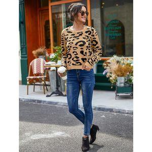 Hirigin 2020 Sweater Outono Moda Leopard Imprimir Tricô Redondo Pescoço Manga Longa Slim Explosão Mulheres Tops de Alta Qualidade
