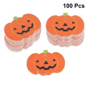 100pcs Halloween Pumpkin Shaped Hanging Tag Gift Tags Paper Hanging Pumpkin Pendants DIY Party Decorations