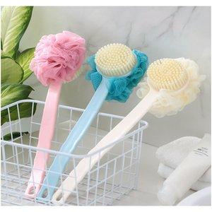 Lange Griff reiben Back Bath Pinsel Blumenkugel für Erwachsene weiche Haare Dual-Zweck-langer Griff F Jllbud