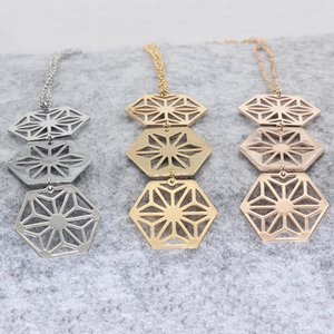 New Design Women Copper Jewelry Geometric Charm Hexagon Necklace Drop Shipping Accepted YP6422