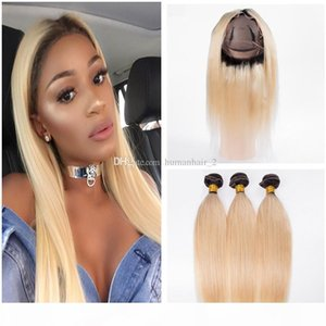 Dark Roots Blonde Human Hair Weaves 360 Full Lace Frontals With Bundles Two Tone 1b 613 Ombre Hair Straight With 360 Frontals