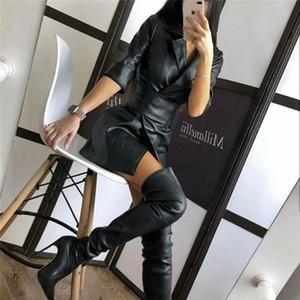 Womens Faux Leather Blazer Mini Dress Casual Long Sleeve Lapel High Waist Dress with Belt F1202