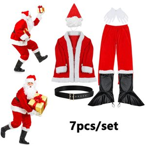 7 pcs set Hot Christmas Flannel Suit Mens Adult Fancy Dress Outfit Santa Claus Costume Father Party Belt Glove Boot Cover Outfit
