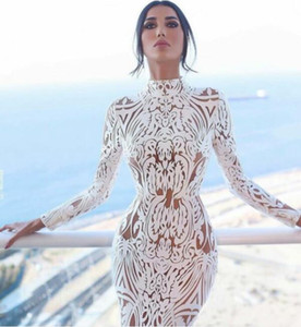 Women dress White Lace dress Evening dress High neck Sheath Yousef aljasmi Kim kardashian Lenaberisna