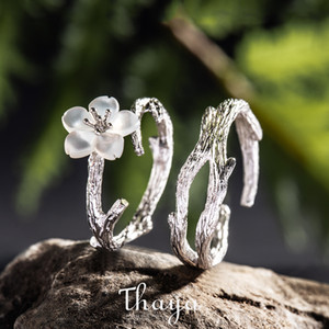 Thaya White Cherry Blossom Silver Ring s925 Silver Natural Pearl Shell Flower Branch Rings for Women Elegant Ladies Jewelry J1202