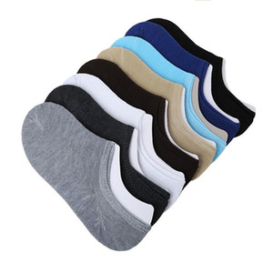 New 5Pair Solid Men's Socks Invisible Ankle Socks Men Summer Breathable Thin Boat Bamboo Size EUR 38-42