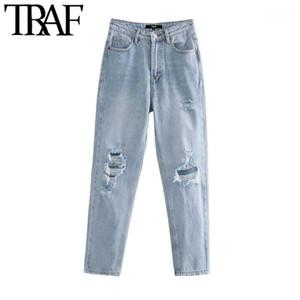 Traf frauen schicke mode gerissene loch seiten taschen jeans vintage hohe taille reißverschluss denim weibliche knöchelhose mujer1