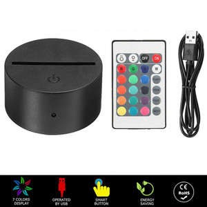 Portable ABS Remote Control Touch Sensor Switch Multicolor 3D LED Light Night Lamp Base Table Decor Holder Porta Lampada Night lights