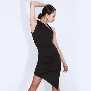 New Latin Dance Dress Women Black Sleeveless Irregular Dresses Tango Salsa Cha Cha Samba Rumba Ladies Performance Wear DNV12735