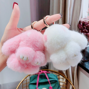 Toherend Kaninchen Anhänger Nerz Pelz Kaninchen Spielzeug Nette Weibliche Auto Tasche Keychain Plüsch Charme Luxus Keychain Schlüsselanhänger Frauen T200804