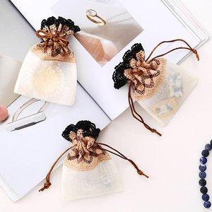 Coffee Wave Design Lace Drawstring Bags Creative Small Mini Jewellery Bags Slub Yarn Wedding Favor Christmas Party Gift Bags