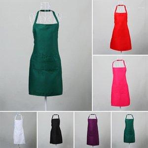 Фартуки шеф-повара фартук моющиеся полиэфирные двойные карманы унисекс кухня Pinafore для официанта черный / белый / роза / оранжевый красный / фиолетовый / зеленый1