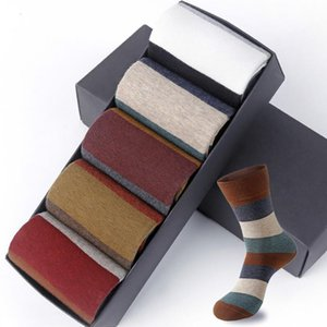 Men's Combed Cotton Socks Fashion Colorful Large Stripe Harajuku Four Seasons Casual Socks Men Size 39-44 5Pair Lot
