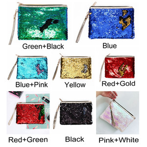 Sequin Glitter Mini Zipper Earphone Coin Wallet Girls Christmas Party Bag Mermaid Sequin Clutch Cosmetic Coin Purse Storage Bag OOD3409