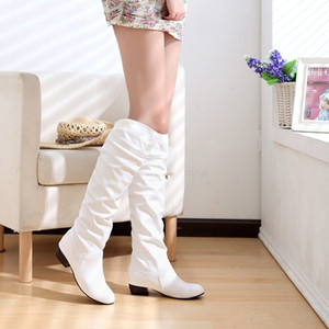 Women Boots Fashion Spring PU Leather Boots Botas Female Stretch Shoes Woman Black White Roma Knee-Length Shoes Femme 201124