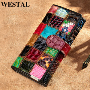 Portefeuille Westal pour Femmes Sacs d'embrayage pour femmes avec portefeuille pour femmes Portefeuille véritable Paquets Patchwork Femme Long 420