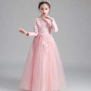 Toddler Kid Girl Party Dress Lace Long Sleeve lPrincess Dress Gown Party Flower Tulle Dress Cosplay Clothes Kid's Prom Ball Gown