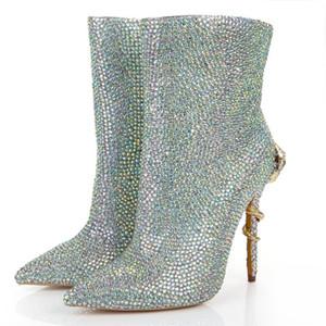 Rhinestone Bling Bling Kristal Ayak Bileği Boot Düğün Gelin Yüksek Topuk Noktası Toe Yılan Moda Patik Ayakkabı