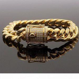 Hip Hop Men's Cuban Chain Bracelet Stainless Steel Micro Zircon Bracelet Golden Bracelet Hot Sale
