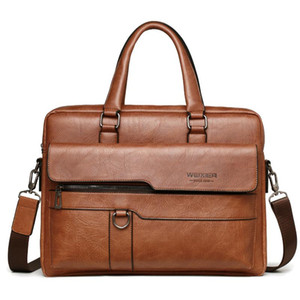 ZZSLHL Inch Briefcase 14 High Quality Business Bag Leather Messenger Men Office Handbag Bags Laptop Pu Shoulder Ncdul