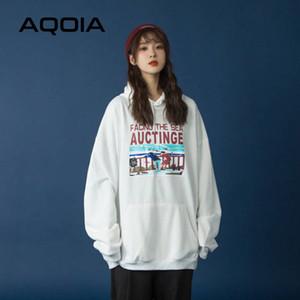 Aqoia sonbahar erkek arkadaşı tarzı mektup baskı gevşek pamuk kadın hoodies ince kazak cepler 2020 kazak büyük boy y1116