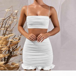 Summer 2020 Women Set Spaghetti Strap Crop Top White Sexy And Mini Bodycon Skirt Ruffles Party Outfit Club Two Piece Sets