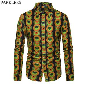 3D Totem Circle Print African Shirt Men 2020 New Batik Wax Cotton Mens Dress Shirts Long Sleeve Bazin Riche Traditional Clothing
